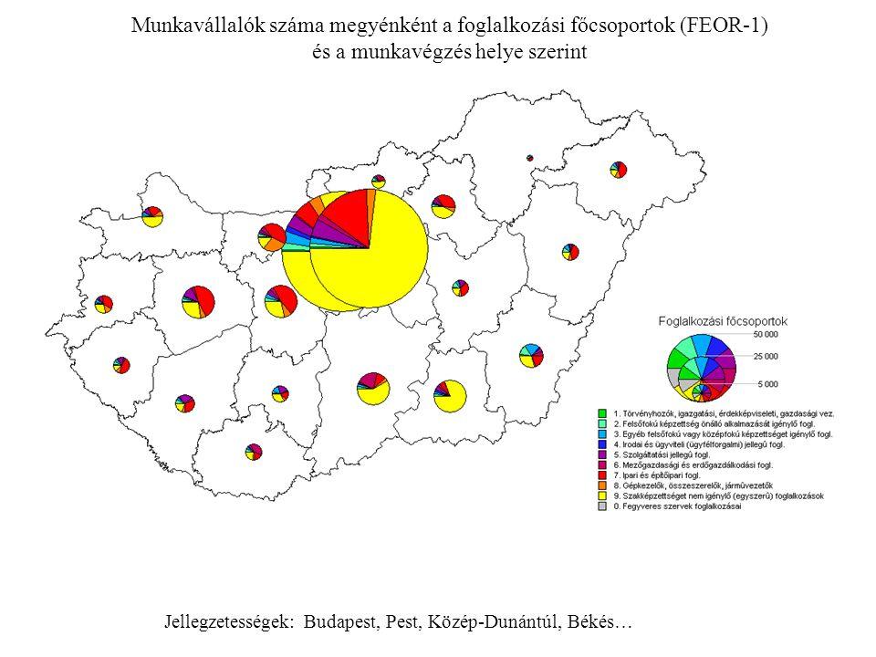 Munkavállalók száma megyénként a foglalkozási főcsoportok (FEOR-1) és a munkavégzés helye szerint Jellegzetességek: Budapest, Pest, Közép-Dunántúl, Bé