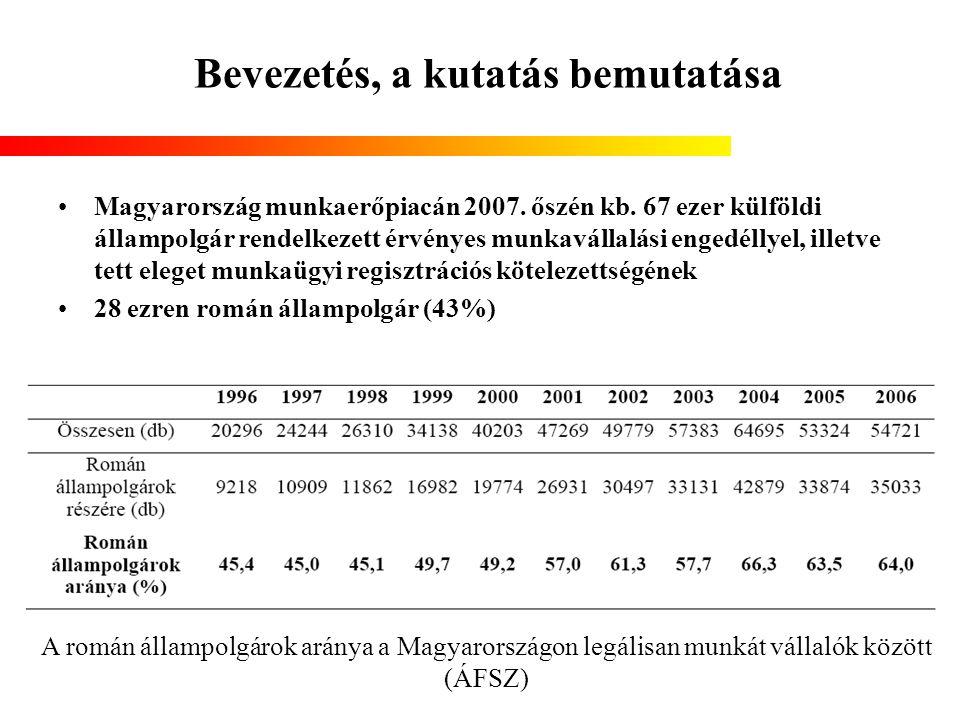 Bevezetés, a kutatás bemutatása Magyarország munkaerőpiacán 2007. őszén kb. 67 ezer külföldi állampolgár rendelkezett érvényes munkavállalási engedéll