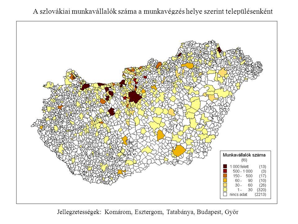 A szlovákiai munkavállalók száma a munkavégzés helye szerint településenként Jellegzetességek: Komárom, Esztergom, Tatabánya, Budapest, Győr