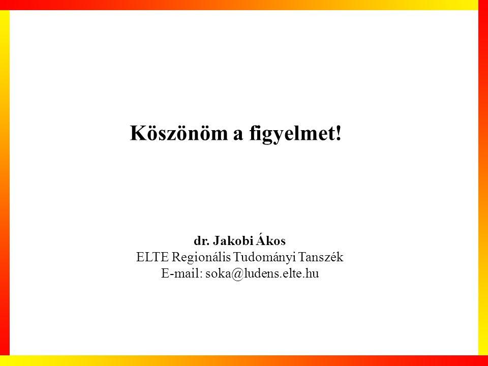 Köszönöm a figyelmet! dr. Jakobi Ákos ELTE Regionális Tudományi Tanszék E-mail: soka@ludens.elte.hu