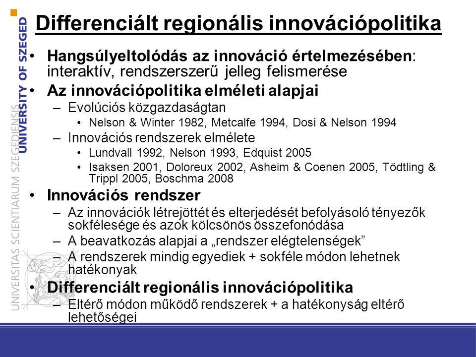 """Differenciált regionális innovációpolitika Hangsúlyeltolódás az innováció értelmezésében: interaktív, rendszerszerű jelleg felismerése Az innovációpolitika elméleti alapjai –Evolúciós közgazdaságtan Nelson & Winter 1982, Metcalfe 1994, Dosi & Nelson 1994 –Innovációs rendszerek elmélete Lundvall 1992, Nelson 1993, Edquist 2005 Isaksen 2001, Doloreux 2002, Asheim & Coenen 2005, Tödtling & Trippl 2005, Boschma 2008 Innovációs rendszer –Az innovációk létrejöttét és elterjedését befolyásoló tényezők sokfélesége és azok kölcsönös összefonódása –A beavatkozás alapjai a """"rendszer elégtelenségek –A rendszerek mindig egyediek + sokféle módon lehetnek hatékonyak Differenciált regionális innovációpolitika –Eltérő módon működő rendszerek + a hatékonyság eltérő lehetőségei"""