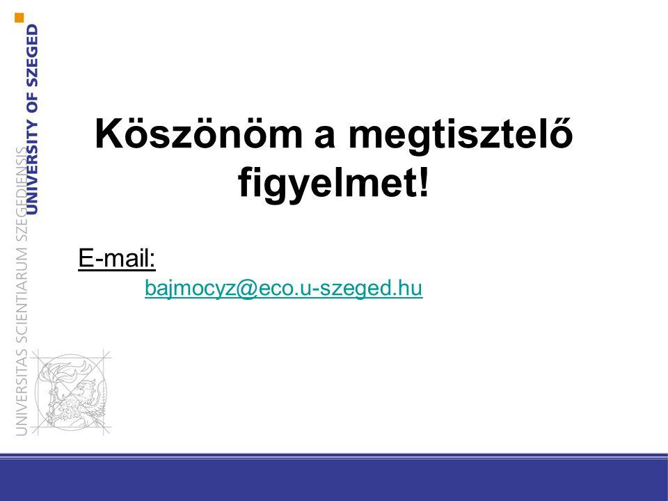 Köszönöm a megtisztelő figyelmet! E-mail: bajmocyz@eco.u-szeged.hu