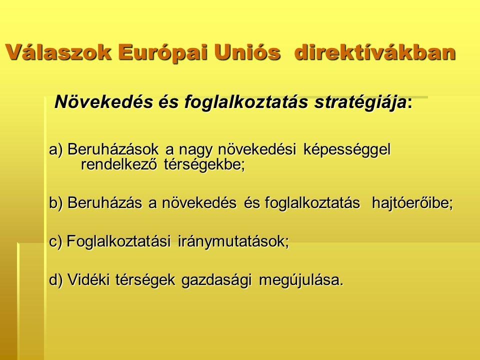 Válaszok Európai Uniós direktívákban Növekedés és foglalkoztatás stratégiája: Növekedés és foglalkoztatás stratégiája: a) Beruházások a nagy növekedési képességgel rendelkező térségekbe; b) Beruházás a növekedés és foglalkoztatás hajtóerőibe; c) Foglalkoztatási iránymutatások; d) Vidéki térségek gazdasági megújulása.