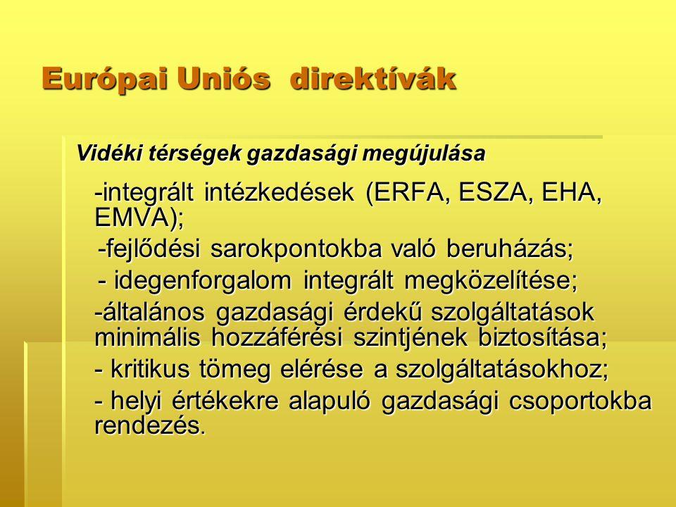 Európai Uniós direktívák Vidéki térségek gazdasági megújulása Vidéki térségek gazdasági megújulása -integrált intézkedések (ERFA, ESZA, EHA, EMVA); -fejlődési sarokpontokba való beruházás; -fejlődési sarokpontokba való beruházás; - idegenforgalom integrált megközelítése; - idegenforgalom integrált megközelítése; -általános gazdasági érdekű szolgáltatások minimális hozzáférési szintjének biztosítása; - kritikus tömeg elérése a szolgáltatásokhoz; - helyi értékekre alapuló gazdasági csoportokba rendezés.