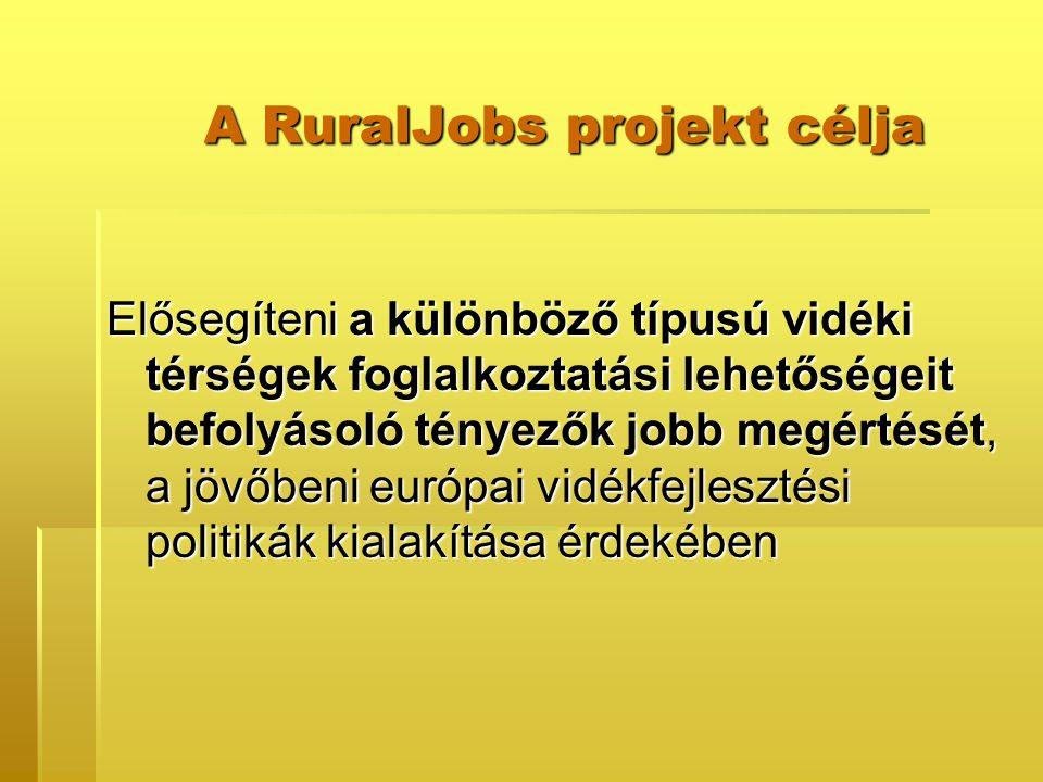 A RuralJobs projekt célja Elősegíteni a különböző típusú vidéki térségek foglalkoztatási lehetőségeit befolyásoló tényezők jobb megértését, a jövőbeni európai vidékfejlesztési politikák kialakítása érdekében