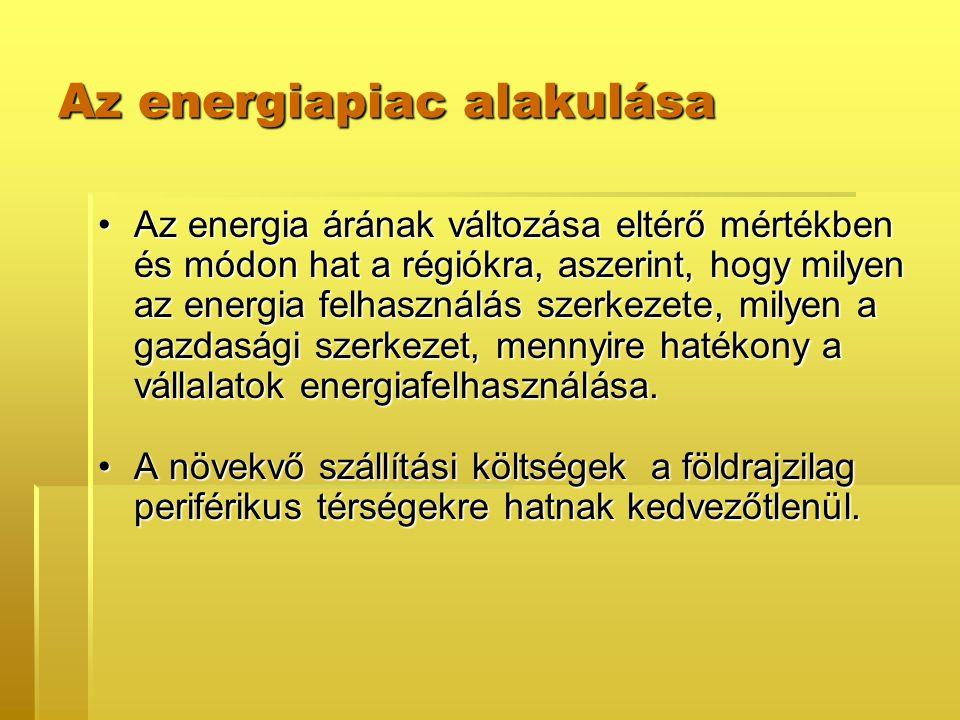 Az energiapiac alakulása Az energia árának változása eltérő mértékben és módon hat a régiókra, aszerint, hogy milyen az energia felhasználás szerkezete, milyen a gazdasági szerkezet, mennyire hatékony a vállalatok energiafelhasználása.Az energia árának változása eltérő mértékben és módon hat a régiókra, aszerint, hogy milyen az energia felhasználás szerkezete, milyen a gazdasági szerkezet, mennyire hatékony a vállalatok energiafelhasználása.