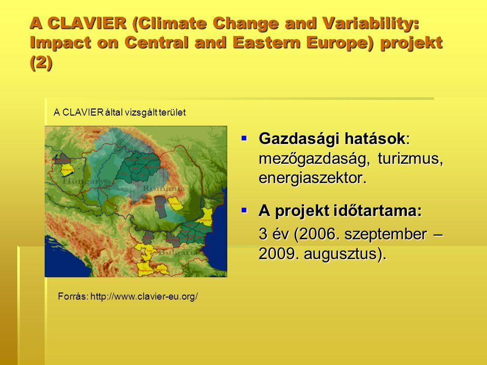  Gazdasági hatások: mezőgazdaság, turizmus, energiaszektor.  A projekt időtartama: 3 év (2006. szeptember – 2009. augusztus). A CLAVIER (Climate Cha