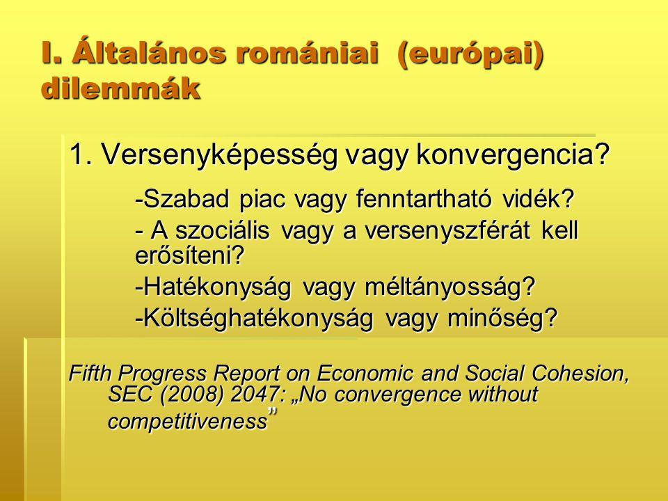 I. Általános romániai (európai) dilemmák 1. Versenyképesség vagy konvergencia? -Szabad piac vagy fenntartható vidék? - A szociális vagy a versenyszfér