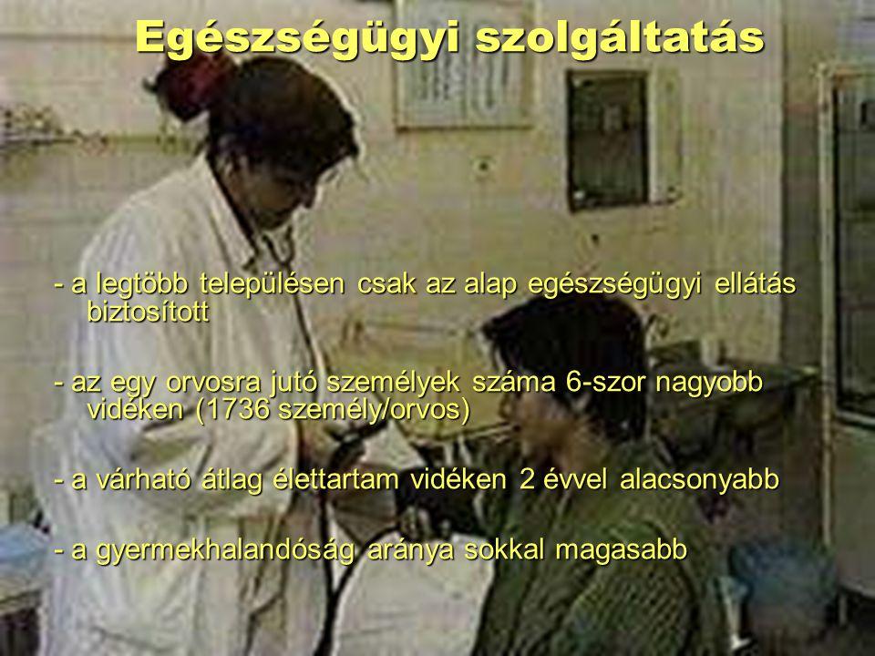 Egészségügyi szolgáltatás - a legtöbb településen csak az alap egészségügyi ellátás biztosított - az egy orvosra jutó személyek száma 6-szor nagyobb v