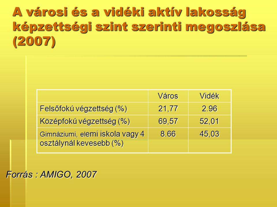 Forrás : AMIGO, 2007 Forrás : AMIGO, 2007 VárosVidék Felsőfokú végzettség (%) 21,772.96 Középfokú végzettség (%) 69,5752,01 Gimnáziumi, el emi iskola vagy 4 osztálynál kevesebb (%) 8.6645,03 A városi és a vidéki aktív lakosság képzettségi szint szerinti megoszlása (2007)