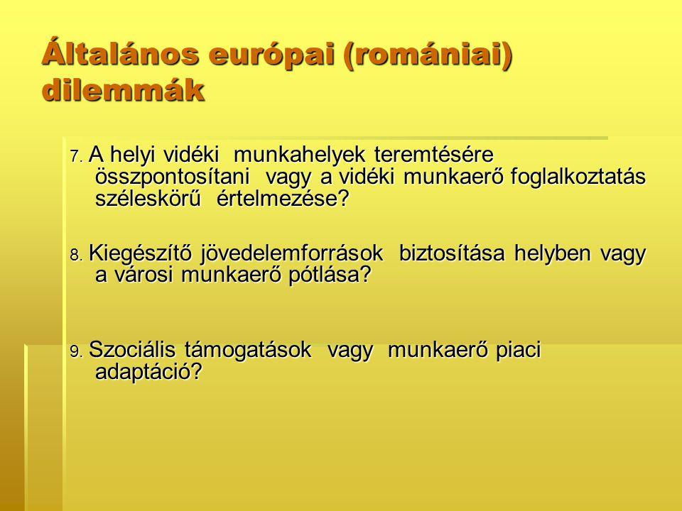 Általános európai (romániai) dilemmák 7. A helyi vidéki munkahelyek teremtésére összpontosítani vagy a vidéki munkaerő foglalkoztatás széleskörű értel