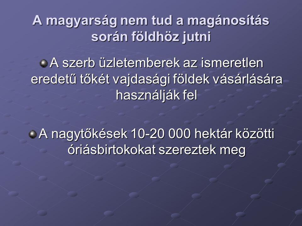 A magyarság nem tud a magánosítás során földhöz jutni A szerb üzletemberek az ismeretlen eredetű tőkét vajdasági földek vásárlására használják fel A nagytőkések 10-20 000 hektár közötti óriásbirtokokat szereztek meg