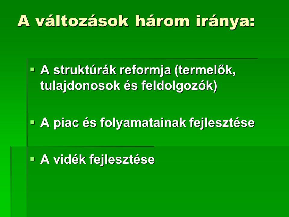 A változások három iránya:  A struktúrák reformja (termelők, tulajdonosok és feldolgozók)  A piac és folyamatainak fejlesztése  A vidék fejlesztése