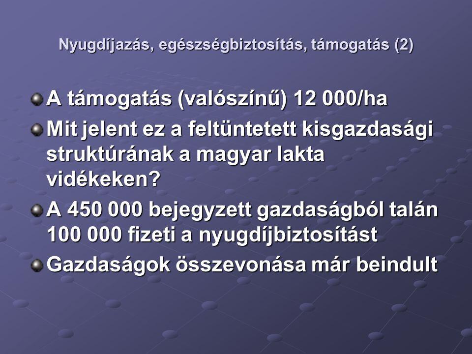 Nyugdíjazás, egészségbiztosítás, támogatás (2) A támogatás (valószínű) 12 000/ha Mit jelent ez a feltüntetett kisgazdasági struktúrának a magyar lakta