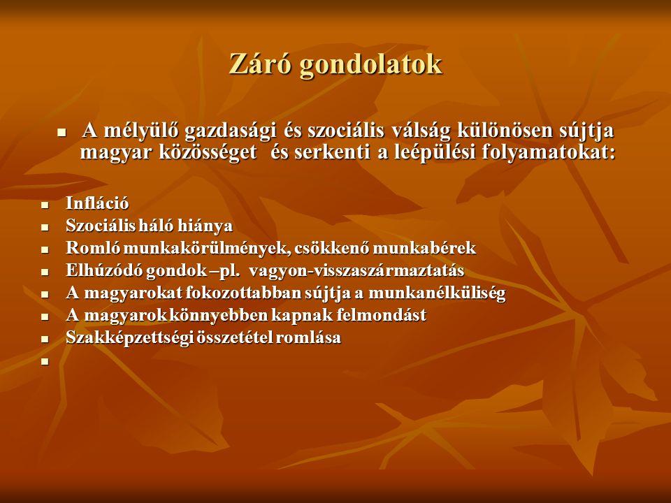 Záró gondolatok A mélyülő gazdasági és szociális válság különösen sújtja magyar közösséget és serkenti a leépülési folyamatokat: A mélyülő gazdasági és szociális válság különösen sújtja magyar közösséget és serkenti a leépülési folyamatokat: Infláció Infláció Szociális háló hiánya Szociális háló hiánya Romló munkakörülmények, csökkenő munkabérek Romló munkakörülmények, csökkenő munkabérek Elhúzódó gondok –pl.