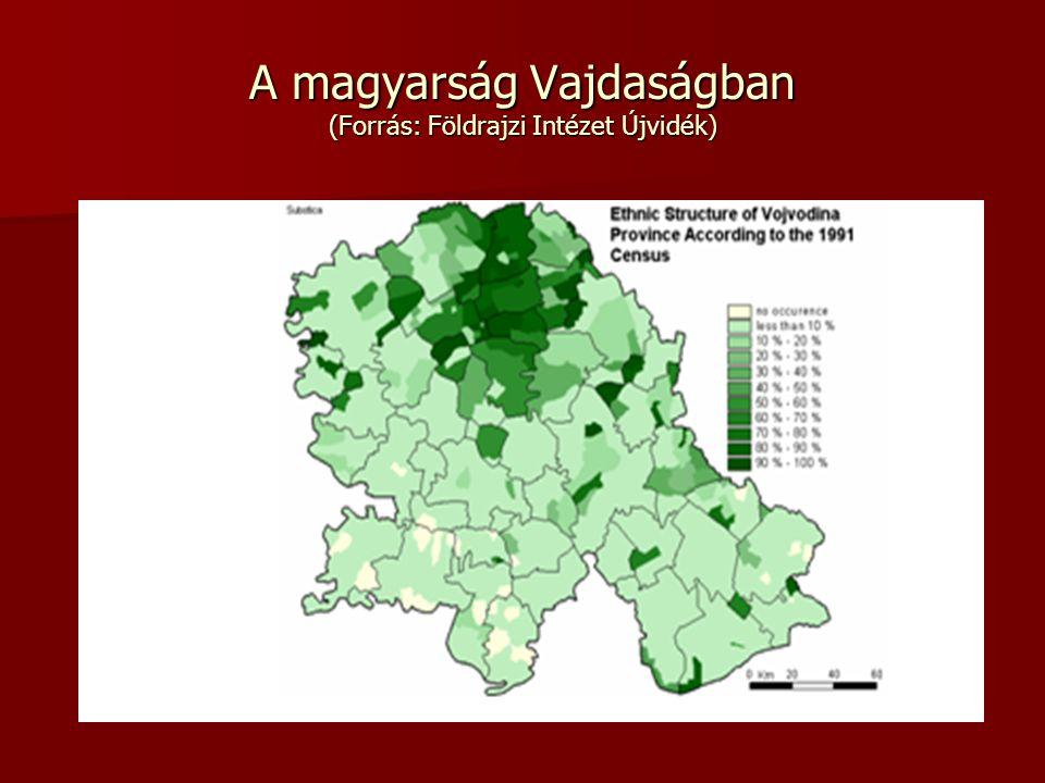A magyarság Vajdaságban (Forrás: Földrajzi Intézet Újvidék)