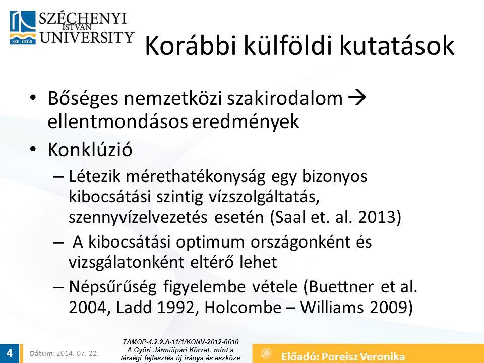 Az adatbázis Vállalati (mérleg) adatok – közüzemi szolgáltatók Összeállítása komplikált, még nem teljes körű 300 hazai településre kiterjed Nagyobb és közepes méretű városok  teljes körűen Kisebb városok, települések  abszolút értelemben is jelentős számban 2011-es legutolsó adatok 5 TÁMOP-4.2.2.A-11/1/KONV-2012-0010 A Győri Járműipari Körzet, mint a térségi fejlesztés új iránya és eszköze Dátum: 2014.