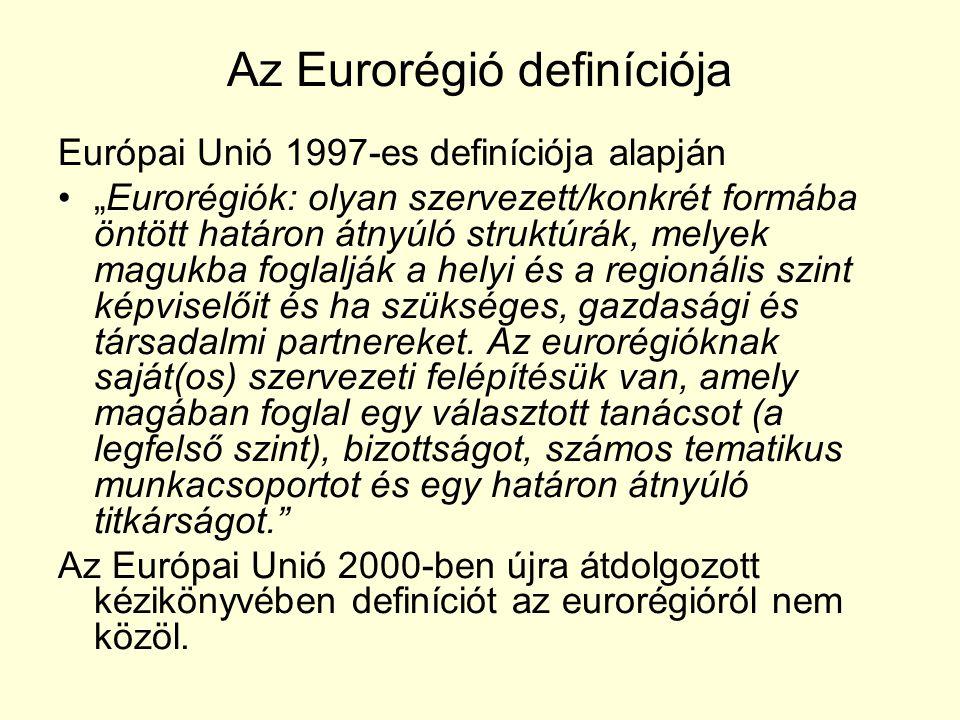 """Az Eurorégió definíciója Európai Unió 1997-es definíciója alapján """"Eurorégiók: olyan szervezett/konkrét formába öntött határon átnyúló struktúrák, melyek magukba foglalják a helyi és a regionális szint képviselőit és ha szükséges, gazdasági és társadalmi partnereket."""