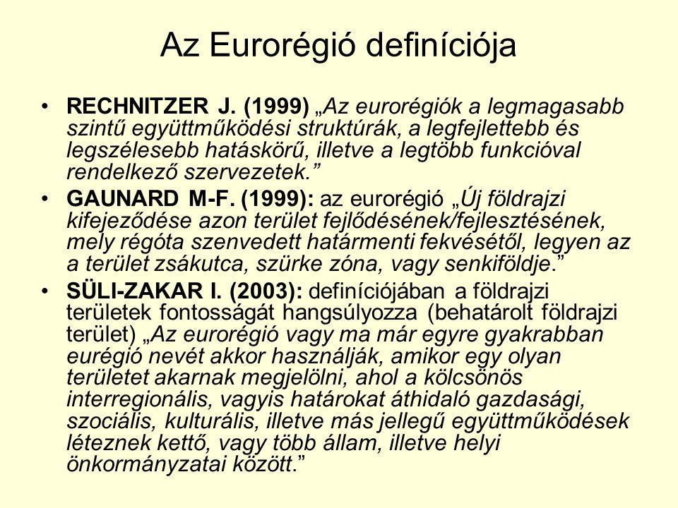 """Az Eurorégió definíciója RECHNITZER J. (1999) """"Az eurorégiók a legmagasabb szintű együttműködési struktúrák, a legfejlettebb és legszélesebb hatáskörű"""