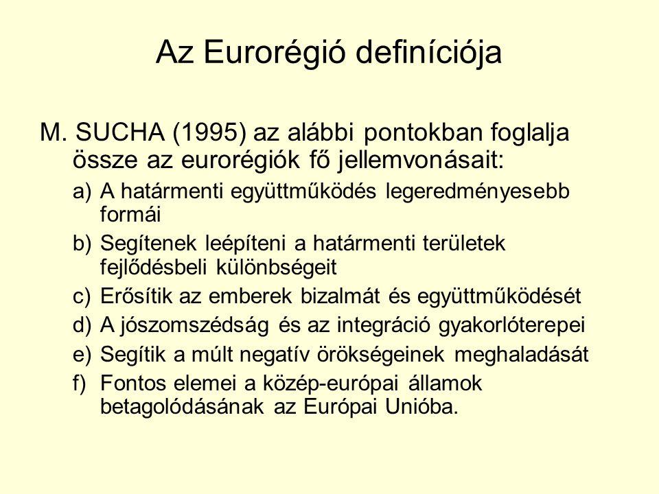 Az Eurorégió definíciója M. SUCHA (1995) az alábbi pontokban foglalja össze az eurorégiók fő jellemvonásait: a)A határmenti együttműködés legeredménye