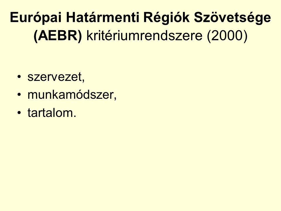 Európai Határmenti Régiók Szövetsége (AEBR) kritériumrendszere (2000) szervezet, munkamódszer, tartalom.