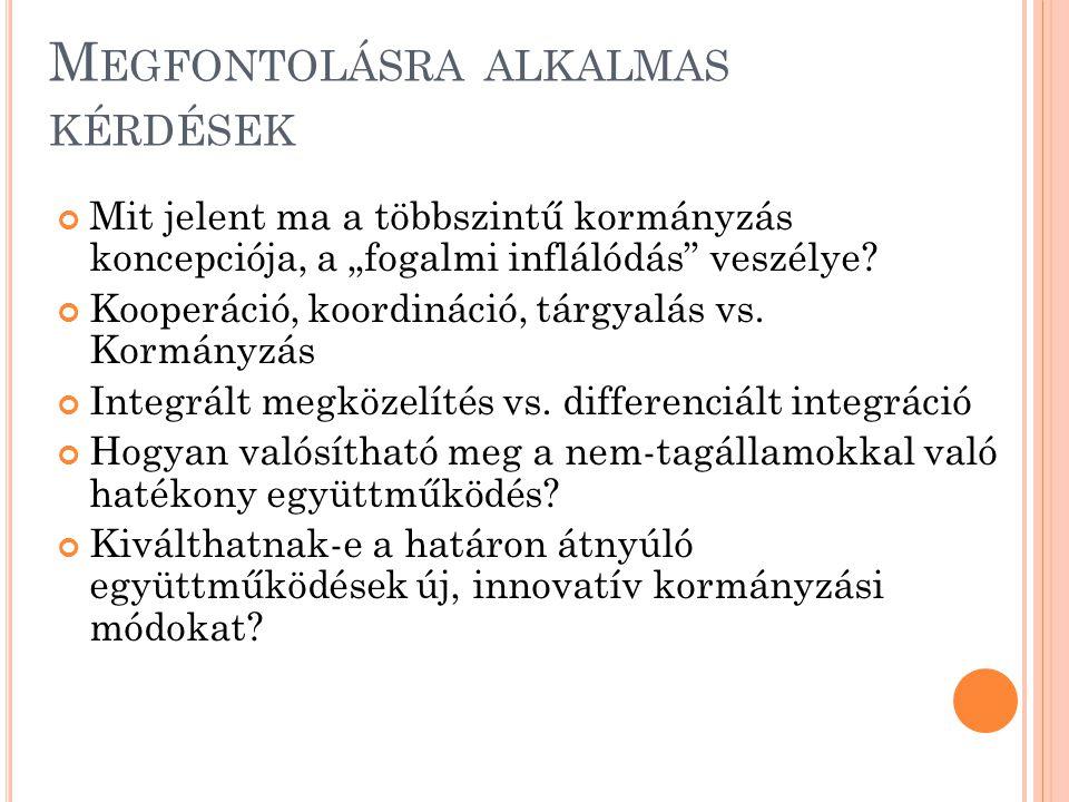 """M EGFONTOLÁSRA ALKALMAS KÉRDÉSEK Mit jelent ma a többszintű kormányzás koncepciója, a """"fogalmi inflálódás veszélye."""