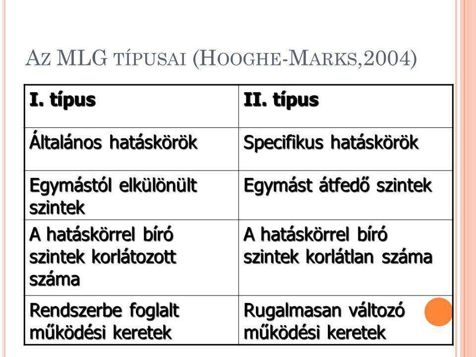 A Z MLG TÍPUSAI (H OOGHE -M ARKS,2004) I. típus II.