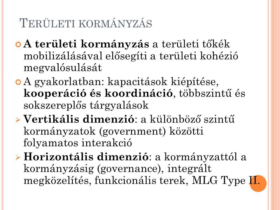 T ERÜLETI KORMÁNYZÁS A területi kormányzás a területi tőkék mobilizálásával elősegíti a területi kohézió megvalósulását A gyakorlatban: kapacitások kiépítése, kooperáció és koordináció, többszintű és sokszereplős tárgyalások  Vertikális dimenzió : a különböző szintű kormányzatok (government) közötti folyamatos interakció  Horizontális dimenzió : a kormányzattól a kormányzásig (governance), integrált megközelítés, funkcionális terek, MLG Type II.