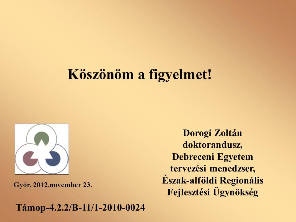Köszönöm a figyelmet! Győr, 2012.november 23. Támop-4.2.2/B-11/1-2010-0024 Dorogi Zoltán doktorandusz, Debreceni Egyetem tervezési menedzser, Észak-al