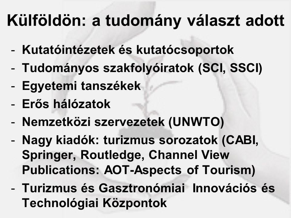 Külföldön: a tudomány választ adott -Kutatóintézetek és kutatócsoportok -Tudományos szakfolyóiratok (SCI, SSCI) -Egyetemi tanszékek -Erős hálózatok -N