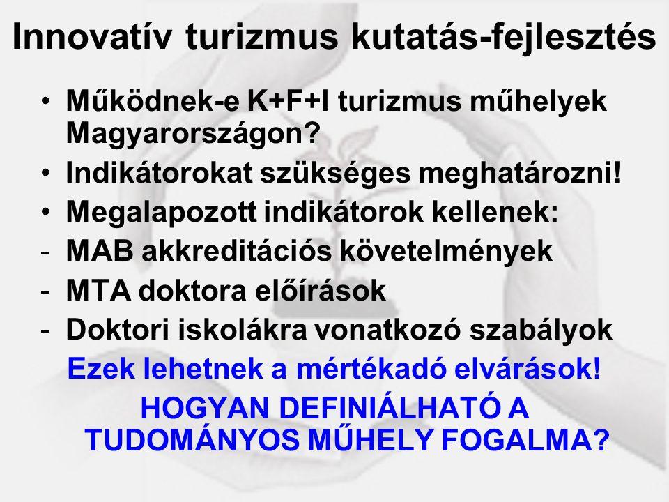 Innovatív turizmus kutatás-fejlesztés Működnek-e K+F+I turizmus műhelyek Magyarországon? Indikátorokat szükséges meghatározni! Megalapozott indikátoro
