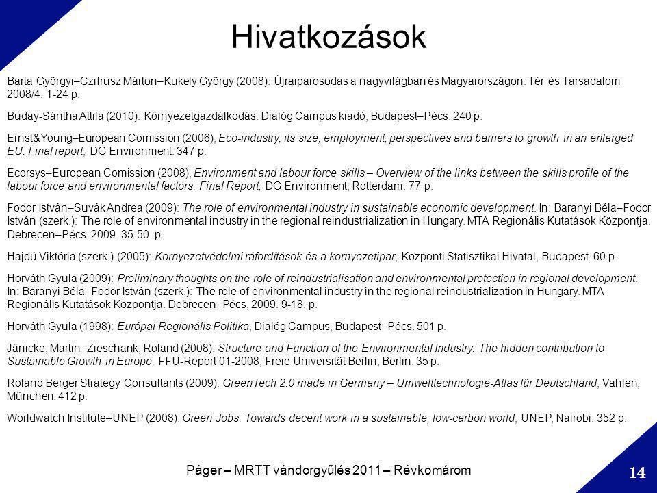 Hivatkozások Páger – MRTT vándorgyűlés 2011 – Révkomárom 14 Barta Györgyi–Czifrusz Márton–Kukely György (2008): Újraiparosodás a nagyvilágban és Magyarországon.