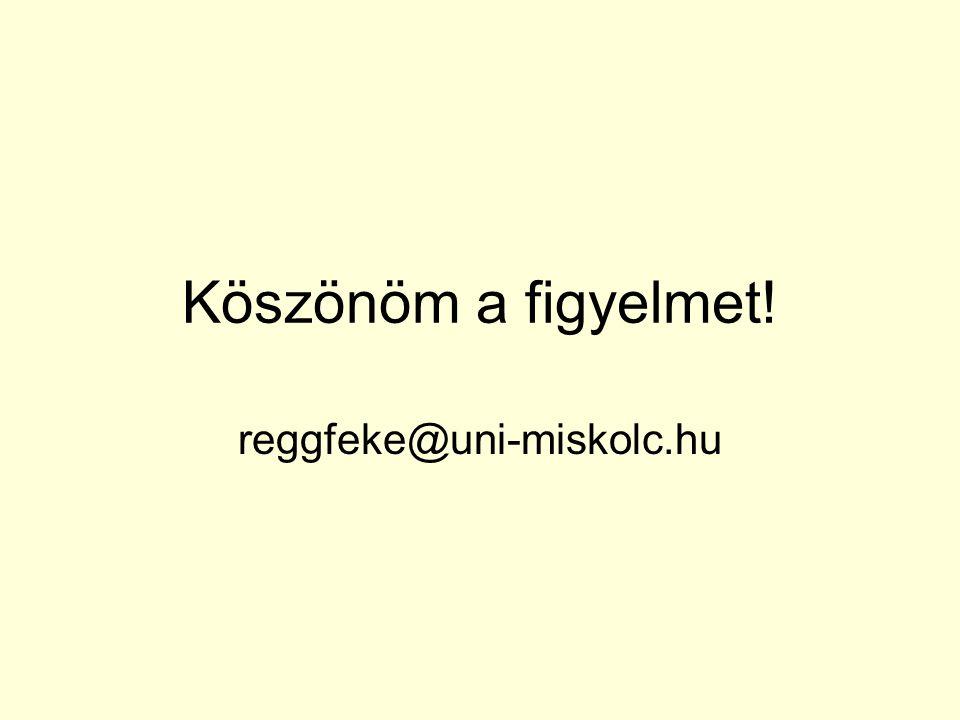 Köszönöm a figyelmet! reggfeke@uni-miskolc.hu