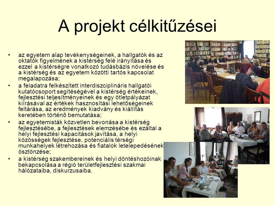 A projekt célkitűzései az egyetem alap tevékenységeinek, a hallgatók és az oktatók figyelmének a kistérség felé irányítása és ezzel a kistérségre vonatkozó tudásbázis növelése és a kistérség és az egyetem közötti tartós kapcsolat megalapozása; a feladatra felkészített interdiszciplináris hallgatói kutatócsoport segítéségével a kistérség értékeinek, fejlesztési teljesítményeinek és egy ötletpályázat kiírásával az értékek hasznosítási lehetőségeinek feltárása, az eredmények kiadvány és kiállítás keretében történő bemutatása; az egyetemisták közvetlen bevonása a kistérség fejlesztésébe, a fejlesztések elemzésébe és ezáltal a helyi fejlesztési kapacitások javítása, a helyi közösségek fejlesztése, potenciális térségi munkahelyek létrehozása és fiatalok letelepedésének ösztönzése; a kistérség szakembereinek és helyi döntéshozóinak bekapcsolása a régió területfejlesztési szakmai hálózataiba, diskurzusaiba.