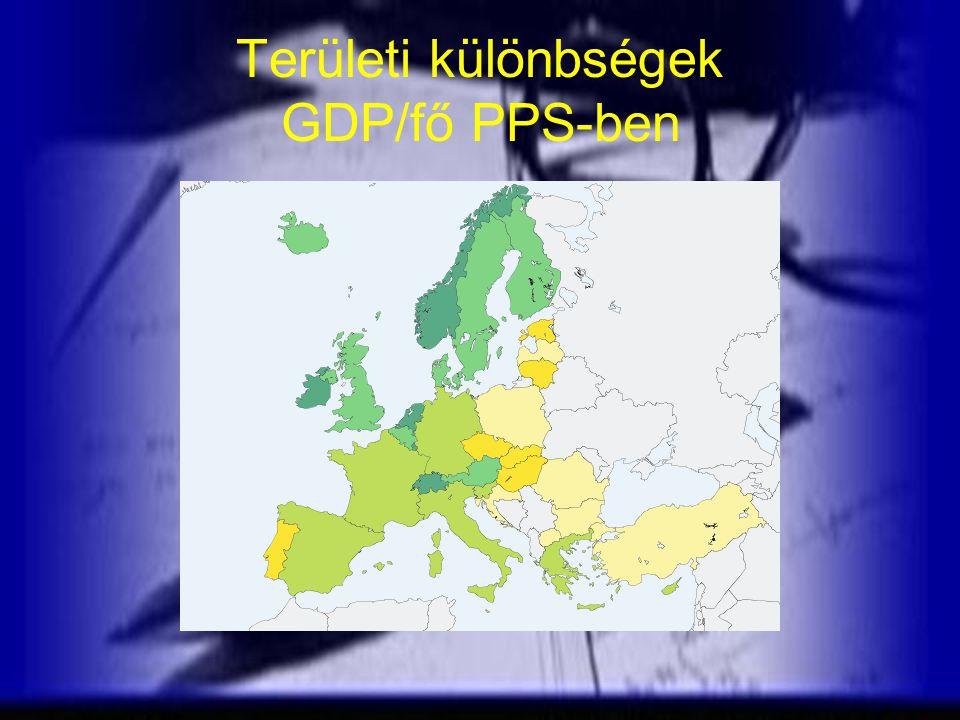 Területi különbségek GDP/fő PPS-ben
