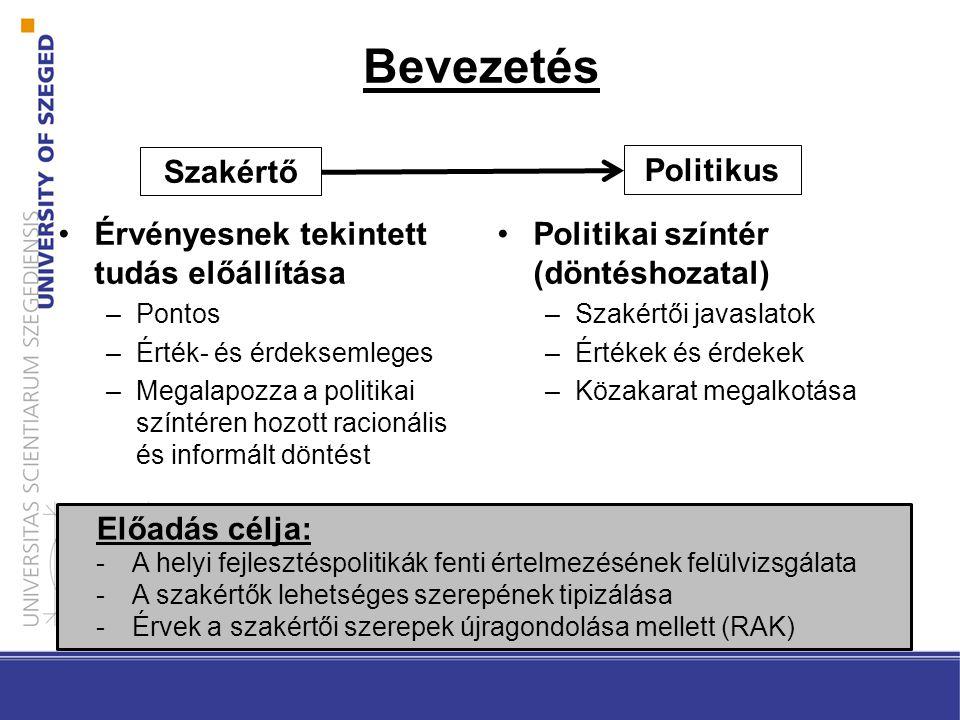 Bevezetés Érvényesnek tekintett tudás előállítása –Pontos –Érték- és érdeksemleges –Megalapozza a politikai színtéren hozott racionális és informált döntést Politikai színtér (döntéshozatal) –Szakértői javaslatok –Értékek és érdekek –Közakarat megalkotása Előadás célja: -A helyi fejlesztéspolitikák fenti értelmezésének felülvizsgálata -A szakértők lehetséges szerepének tipizálása -Érvek a szakértői szerepek újragondolása mellett (RAK) Szakértő Politikus