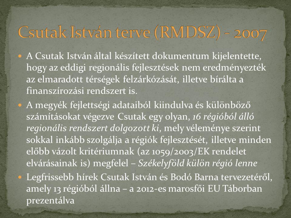 A Csutak István által készített dokumentum kijelentette, hogy az eddigi regionális fejlesztések nem eredményezték az elmaradott térségek felzárkózását