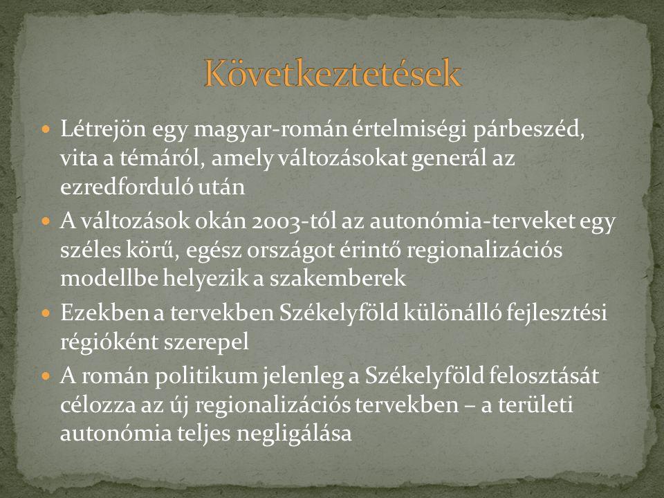 Létrejön egy magyar-román értelmiségi párbeszéd, vita a témáról, amely változásokat generál az ezredforduló után A változások okán 2003-tól az autonóm