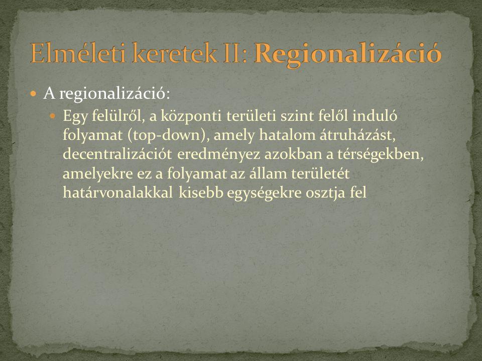A regionalizáció: Egy felülről, a központi területi szint felől induló folyamat (top-down), amely hatalom átruházást, decentralizációt eredményez azok