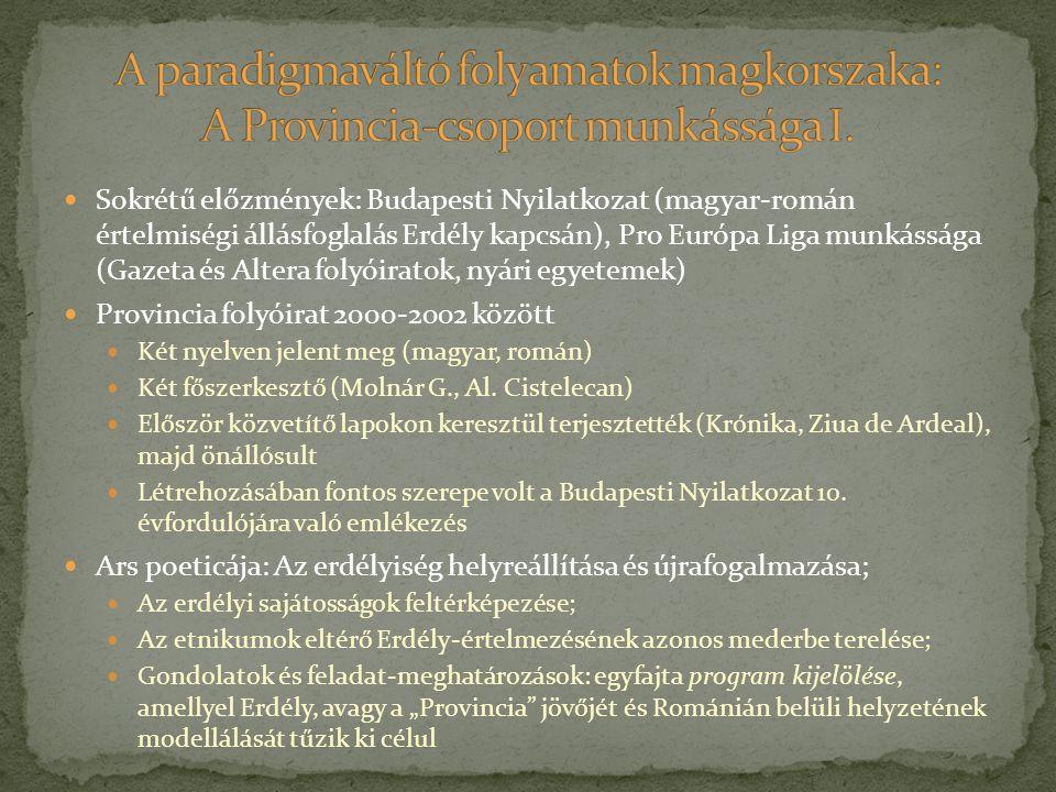 Sokrétű előzmények: Budapesti Nyilatkozat (magyar-román értelmiségi állásfoglalás Erdély kapcsán), Pro Európa Liga munkássága (Gazeta és Altera folyói