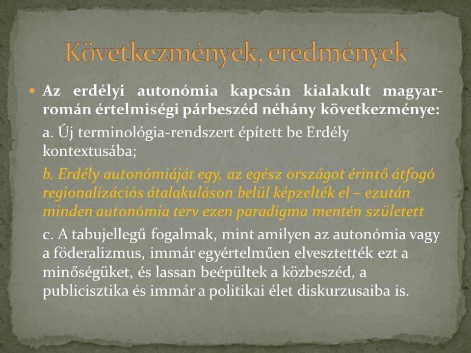Az erdélyi autonómia kapcsán kialakult magyar- román értelmiségi párbeszéd néhány következménye: a. Új terminológia-rendszert épített be Erdély kontex