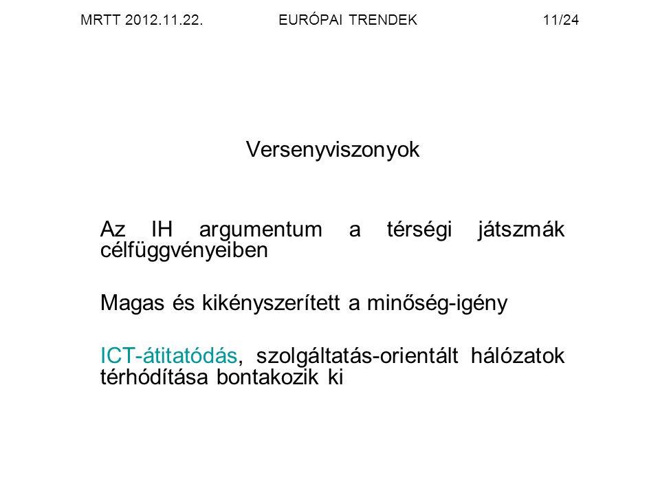 MRTT 2012.11.22.EURÓPAI TRENDEK11/24 Versenyviszonyok Az IH argumentum a térségi játszmák célfüggvényeiben Magas és kikényszerített a minőség-igény ICT-átitatódás, szolgáltatás-orientált hálózatok térhódítása bontakozik ki