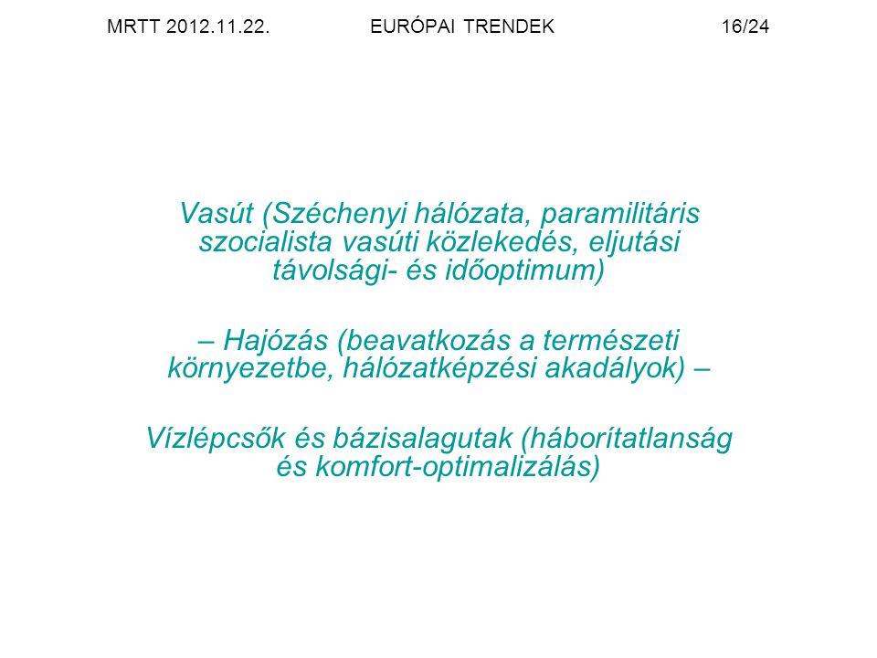 MRTT 2012.11.22.EURÓPAI TRENDEK16/24 Vasút (Széchenyi hálózata, paramilitáris szocialista vasúti közlekedés, eljutási távolsági- és időoptimum) – Hajózás (beavatkozás a természeti környezetbe, hálózatképzési akadályok) – Vízlépcsők és bázisalagutak (háborítatlanság és komfort-optimalizálás)