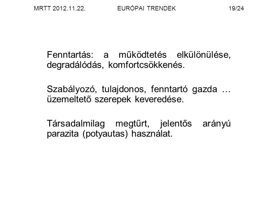 MRTT 2012.11.22.EURÓPAI TRENDEK19/24 Fenntartás: a működtetés elkülönülése, degradálódás, komfortcsökkenés. Szabályozó, tulajdonos, fenntartó gazda …
