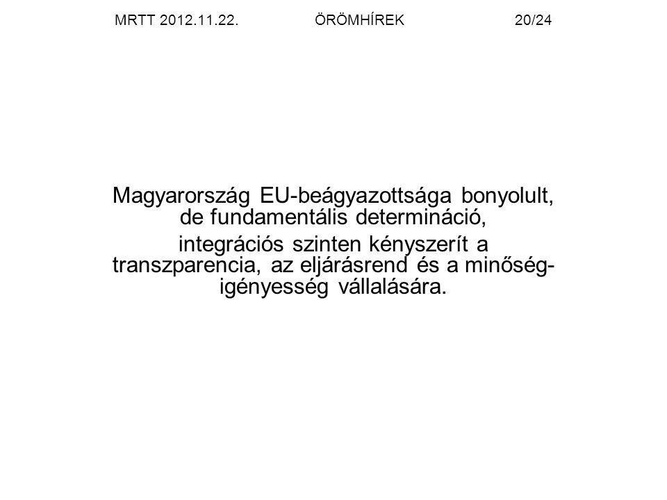 MRTT 2012.11.22.ÖRÖMHÍREK20/24 Magyarország EU-beágyazottsága bonyolult, de fundamentális determináció, integrációs szinten kényszerít a transzparencia, az eljárásrend és a minőség- igényesség vállalására.
