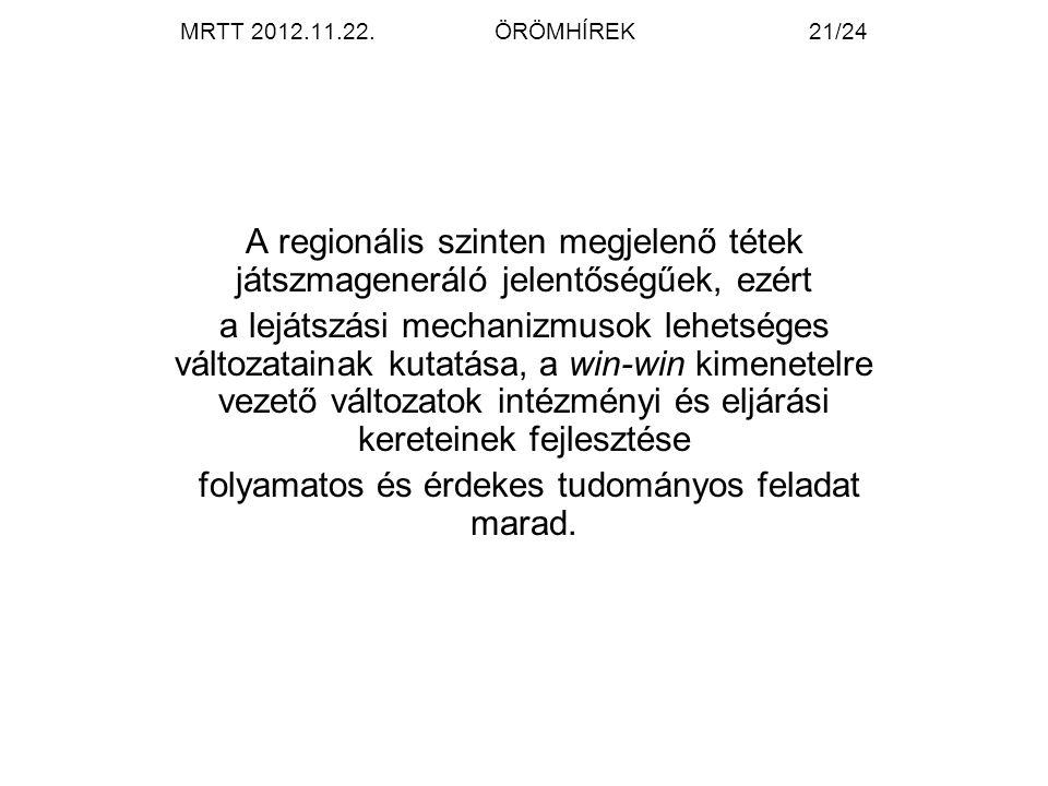 MRTT 2012.11.22.ÖRÖMHÍREK21/24 A regionális szinten megjelenő tétek játszmageneráló jelentőségűek, ezért a lejátszási mechanizmusok lehetséges változa