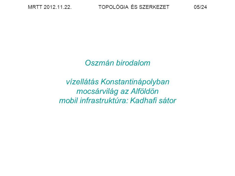MRTT 2012.11.22. TOPOLÓGIA ÉS SZERKEZET 05/24 Oszmán birodalom vízellátás Konstantinápolyban mocsárvilág az Alföldön mobil infrastruktúra: Kadhafi sát