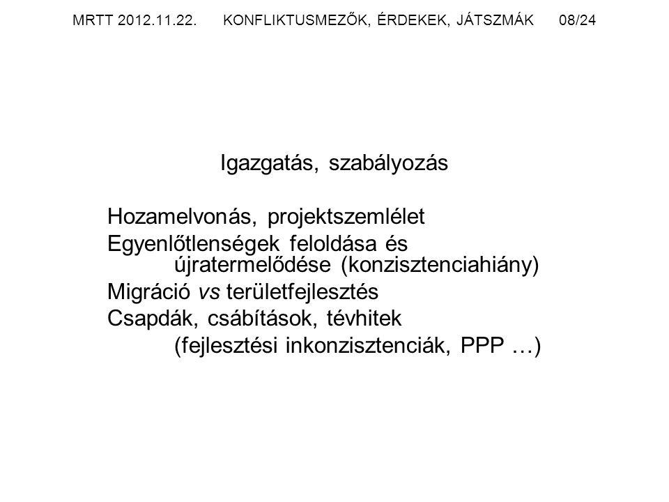 MRTT 2012.11.22. KONFLIKTUSMEZŐK, ÉRDEKEK, JÁTSZMÁK 08/24 Igazgatás, szabályozás Hozamelvonás, projektszemlélet Egyenlőtlenségek feloldása és újraterm