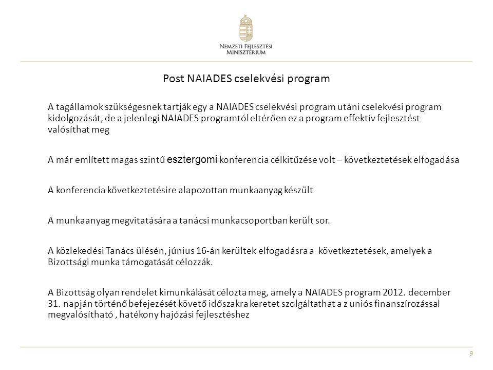 9 Post NAIADES cselekvési program A tagállamok szükségesnek tartják egy a NAIADES cselekvési program utáni cselekvési program kidolgozását, de a jelen