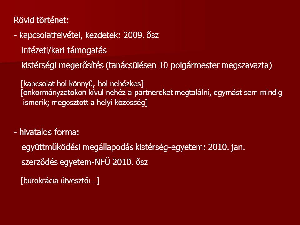 Rövid történet: - kapcsolatfelvétel, kezdetek: 2009.